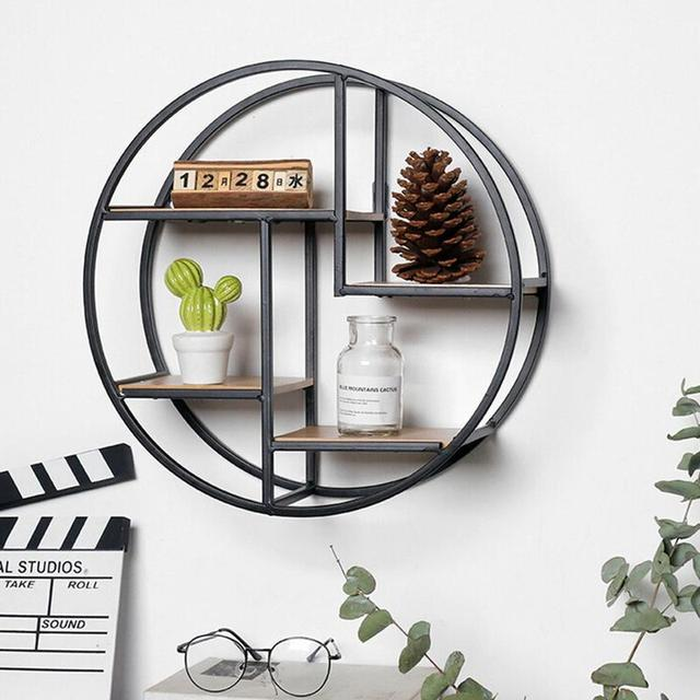 Creative Home Solid Wood Wall Hanging Wrought Iron Wall Rack Round