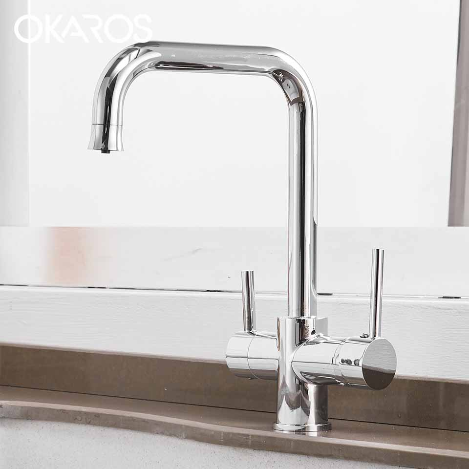 OKAROS Chrome Purification Kitchen Faucet Water Brass Purifier Filter Sink Faucet Dual Handle Drinking Water Mixer Tap C030 creative cup of giraffe pattern square shape flax pillowcase without pillow inner