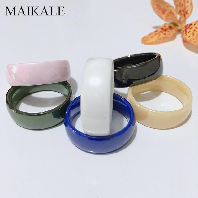 MAIKALE 8MM Classic Ceramic Ring Black White Blue Pink Green Finger Rings for Women Party Wedding Band Daily Wear Jewelry Gifts