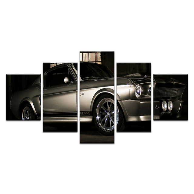 5 Pcs 1967 Mustang Shelby GT500 Eleanor Super Car Posters And Print Silk  Fabric Print Wall Decor For Living Room Artwork