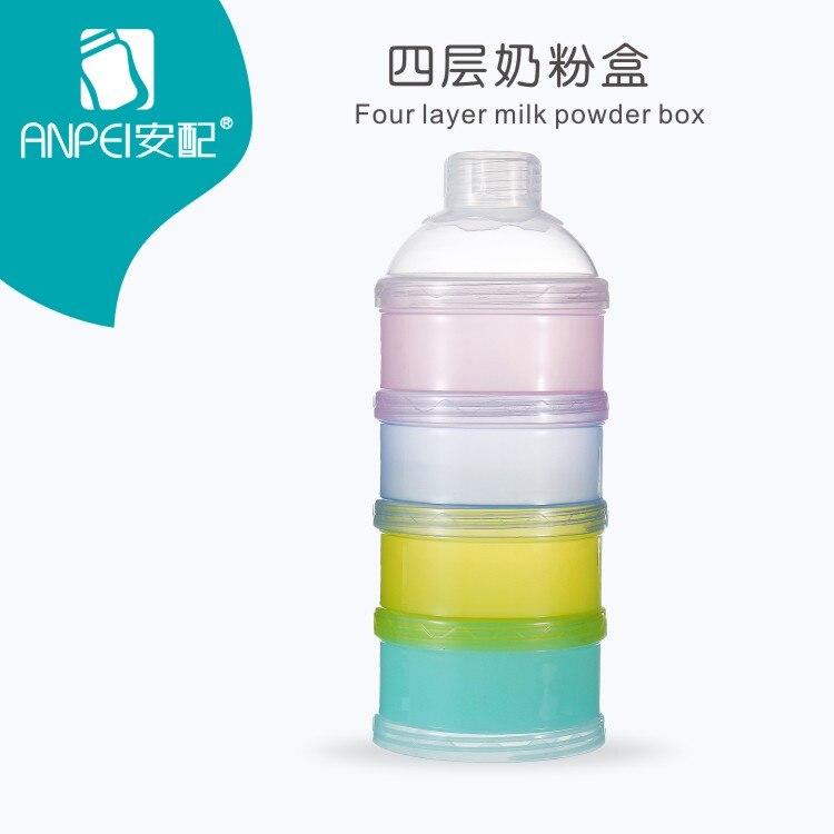 Portable Baby Infant Feeding Milk Powder & Food Bottle Container 4 Layer Grid Box Infant Storage Dispenser Travel Storage Bins