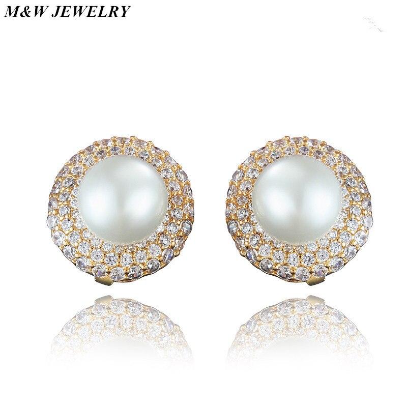 M&W JEWELRY New Hot Sale Recommended white Zircon Earrings for Women Crystal Pearl Earrings Jewelry