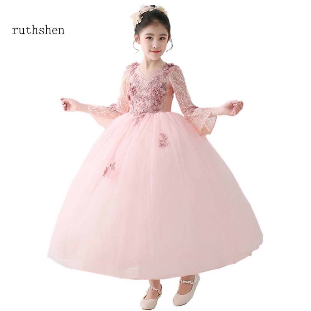 Ruthshen Princess Flower Girls Dresses 2018 Real Photo Lace Flowers