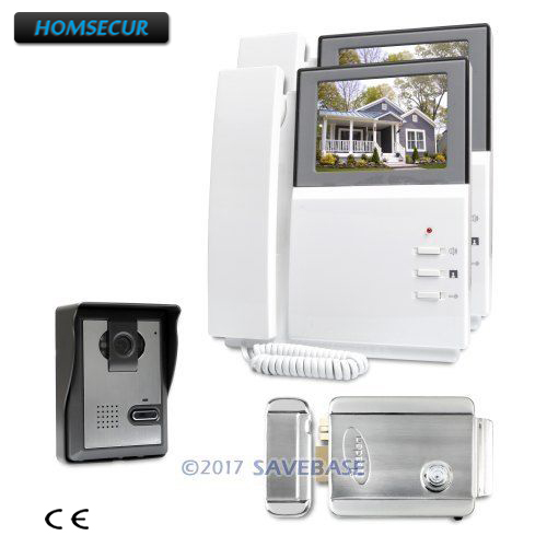 HOMSECUR 4.3inch Wired Color Video Security Door Phone with IR Night Vision for Home Security 1V2