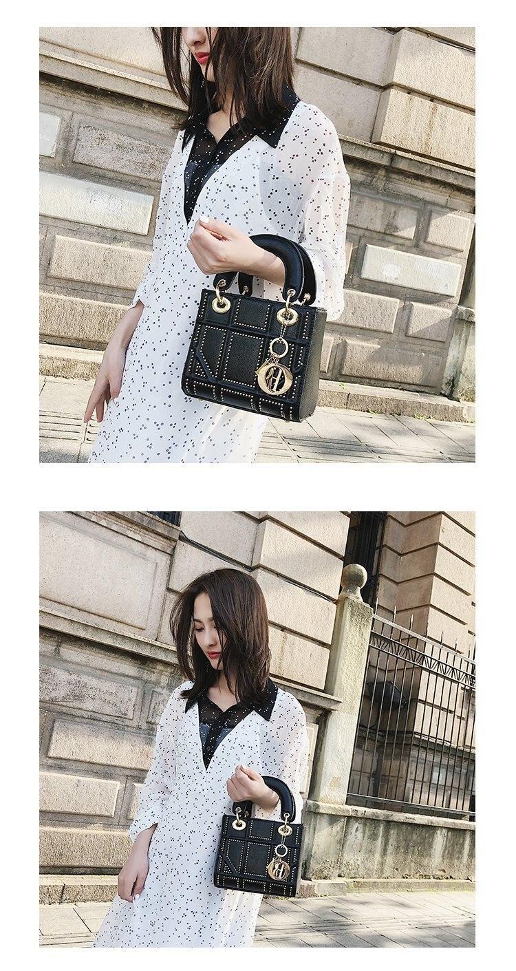 Small Rivet Ladies Hand Sling Crossbody Bags Women Leather Luxury Handbag Designer Female Shoulder Tote Bag Sac Main Pink Clutch 13