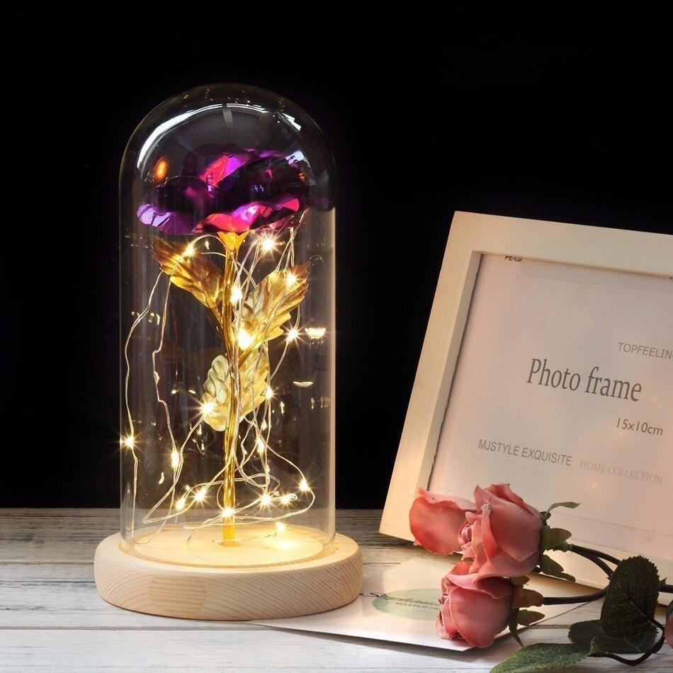 Средняя красота и чудовище Роза, Роза в стеклянном куполе, навсегда Роза, красная роза, консервированная Роза, Белль Роза, особый романтический подарок - Цвет: purple