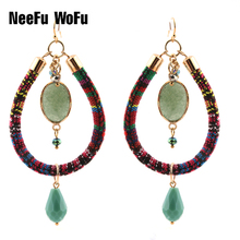 Drop Earrings Big Bohemian National Wind Ribbons Leather Long Crystal Earring Natural Stone Charm Fashion Jewelry national wind alloy jewelry round stone earrings