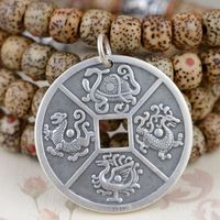 sterling silver pendant S999 Chinese wholesale four animal lung White Tiger Pendant well balanced lineup personality