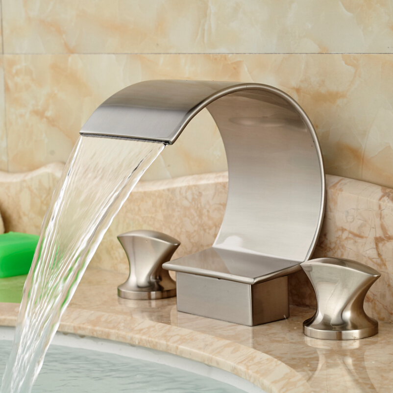 2016 New Nickel Brushed Dual Handles Basin Mixer Faucet Deck Mount 3 Holes Bathroom Sink Hot