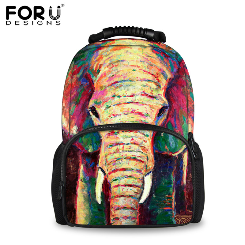 FORUDESIGNS Elephant Painting Travel Laptop Backpacks for Women 3D Printing Female Felt Backpack School Student Daily Pack Bags