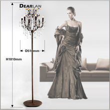 Popular Vintage Style Crystal Floor Lamp Rust Red Color Stand with 6 Lights for Reading Room Hotel Living LD003