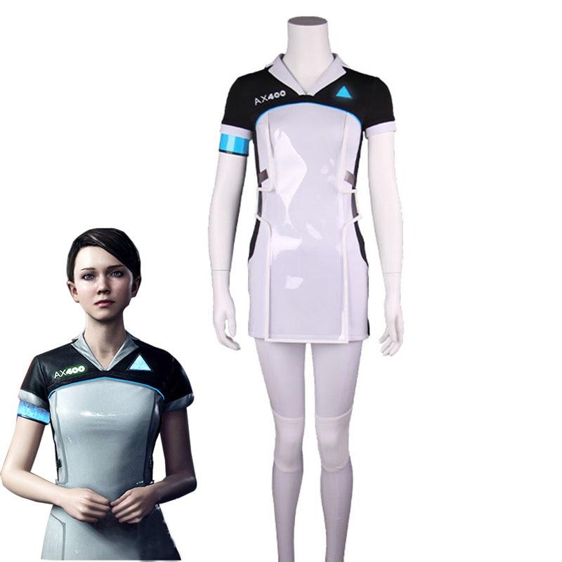 Jogo Detroit  se tornar Humano KARA Cosplay Costume Código AX400 Agente  Uniformes Top + Calças Outfit Meninas Vestido Bonito do Dia Das Bruxas  Carnaval 5e3cd154fa769
