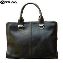 COSSLOO Promoción Auténticos compuestas marca de cuero bolsa de los hombres bolsas de viaje ocasional maletín hombro masculino para el hombre de negocios!
