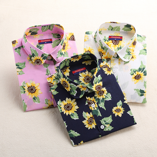 64127860e5d9e Dioufond Clearance Sale Women Shirt Lady Floral White Blue Cotton Blouse  Casual Turn-down Female Tops Spring Autumn Clothing