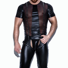 Men's Solid Leather Sexy Top and Pants Set