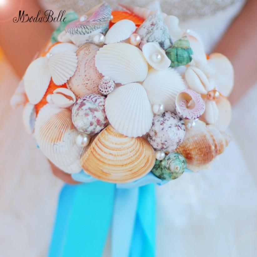 2017 Conchiglia Spiaggia Bouquet Da Sposa Artificiale Blue Ribbon Vero Tocco Bouquet Da Sposa Shell Perla Di Lusso Damigella D'onore A Mano Fiori