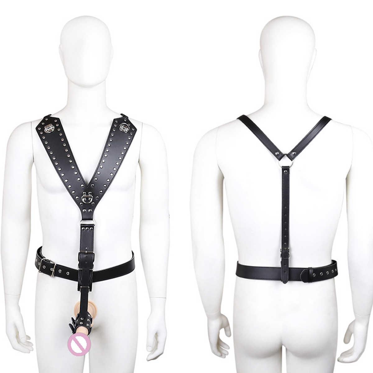 Skóra PU dla mężczyzn pas cnoty spodnie Bdsm Bondage ograniczenia w klatce piersiowej talii szelki kobiet body stringi fetysz Sex zabawki