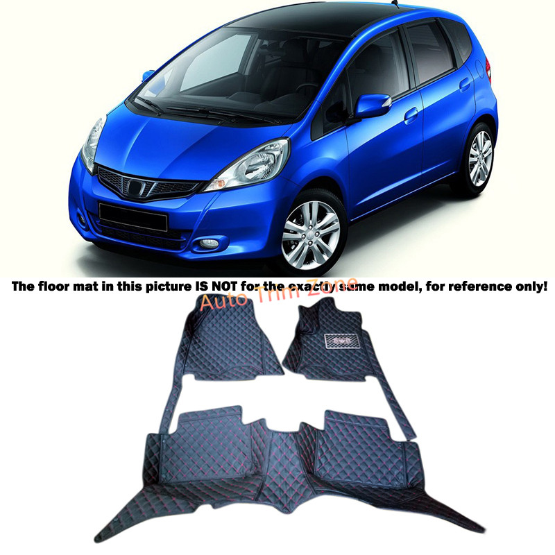 Black Interior Leather Floor Mats & Carpets Foot Pads Protector For Honda Fit Jazz 2009-2013 women solid one piece swimsuit halter backless bandage bodysuit monokini deep v neck sexy high waist vintage beach wear page 3