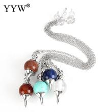 10strands/Lot Natural Stone Necklace Crystal Red Agates Dowsing Pendulum Circular Cone Charm Pendant For Men Women