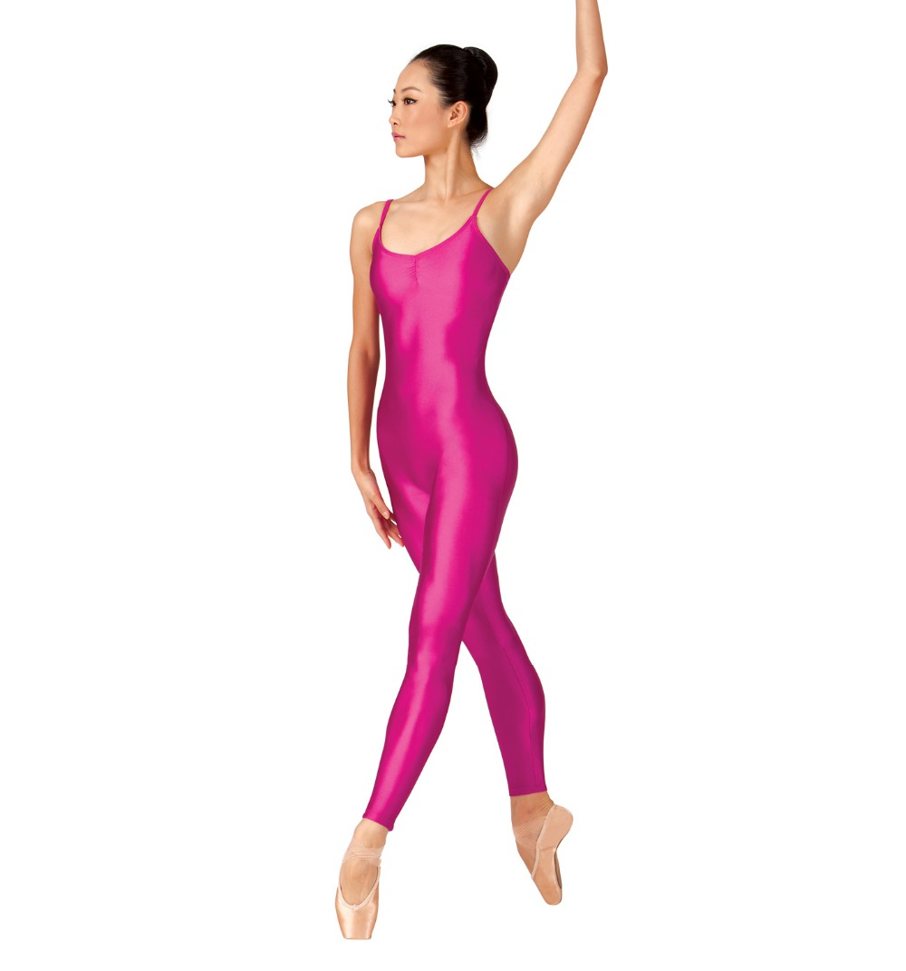 Adulte Nylon pincement avant Camisole rouge Unitard gymnastique sans manches sans pied Ballet justaucorps Lycra Spandex vêtement de danse pour les femmes