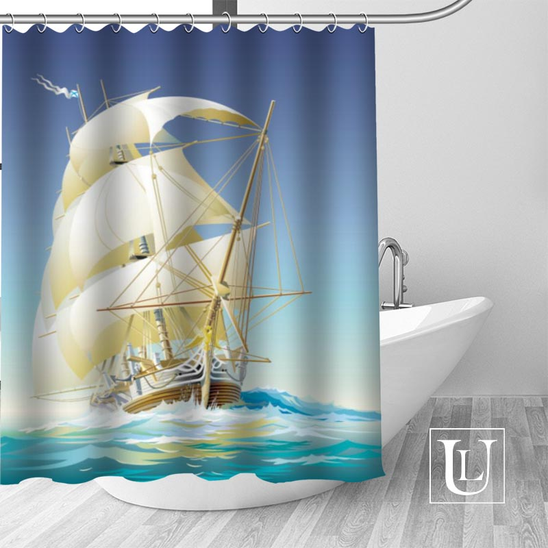 New arrival Custom pirate ship Fabric 100% Polyester Shower Curtain High Quality Washable Bath Decor Waterproof Popular