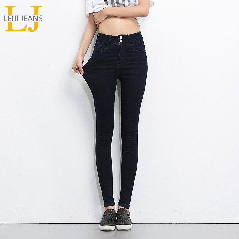 LEIJIJEANS 2018 Più Il Formato dei jeans delle donne dei jeans Neri A Vita Alta In Denim delle donne pantaloni di alta elastici Scarni Della Matita di Stirata Delle Donne Dei Jeans
