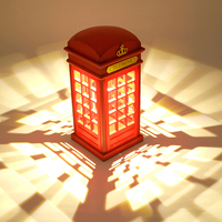 Stylish Retro Telephone Booth Desk Table Lamp Usb Rechargeable LED Touch Night Light For Children Bedroom
