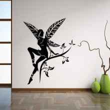 Wild Flower Fairy Tree Wings Wall Decal Sticker Transfer Stencil Mural Art Wall Stickers  Wall Decor For Nursery Kids Room L123