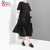 New 2018 Summer Women Solid Blue Black Dress With Pleated Layer Short Sleeve O Neck Knee