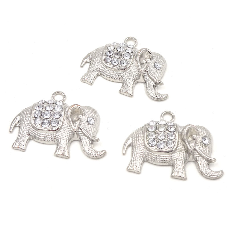 5Pcs Elephant Pendant Silver Plated Animales Necklace Findings Pendentes Para Bijuteria Materials To Make Necklaces 35*30mm