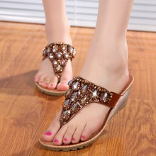 Beaded Summer Beach Flip Flops Plus Size 40 Rhinestone Wedges Platform Sandals 2016 New Women's Shoes Zapatos Mujer Slippers