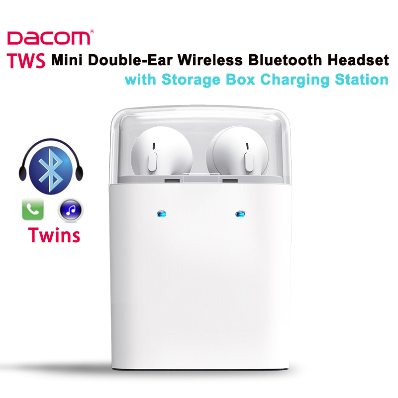 ФОТО New Dacom TWS Twins Bluetooth Headset Microphone with Charging Storage Box Double-ear Wireless Sport Earphone for iPhone Airpods