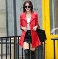 Jaqueta de couro Preto Mulheres Top Moda Plus Size Slim Senhoras de Couro Sintético Longo Trench Coat Feminino Gabardina de cuero Z906