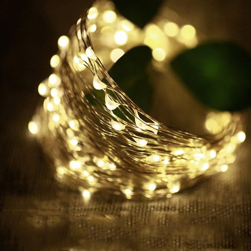 Ao ar livre iluminação 2 M 3 M 5 M 10 M Alimentado Por Bateria LEVOU Luzes de Fadas String De Prata Guirlanda de Natal Decorativas festa Do Casamento Do feriado