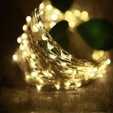 Наружного освещения 2 м 3 м 5 M 10 м Батарея светодиодный Silver String гирляндой гирлянды Декоративные рождественские праздничная Свадебная вечеринка