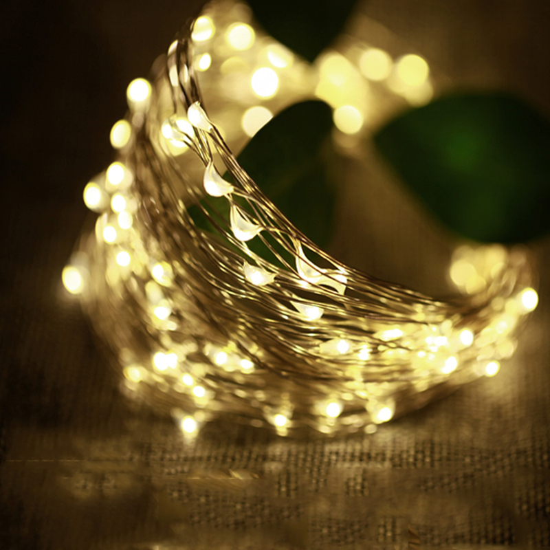 Utendørs belysning 2M 3M 5M 10M Batteridrevne LED Silver String Fairy Lights Garland Dekorative Christmas Holiday Wedding Party