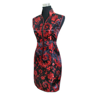 FREE SHIPPING Sexy Black Red Chinese Tradition Ladies Cheongsam Qipao Evening Wedding Mini Club Dress Size