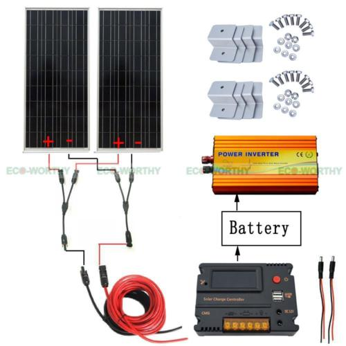 200W 2x100W 12V Solar Panel & 20A LCD Intelligent Controller 1KW Inverter for RV