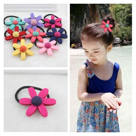 Elastic hair bands gum with Eva material Flower girl hair accessories for ponytail or braids