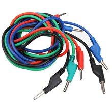 4pcs Dual 4mm Banana Plug Male Jack Silicone Test Cable M/M 1M
