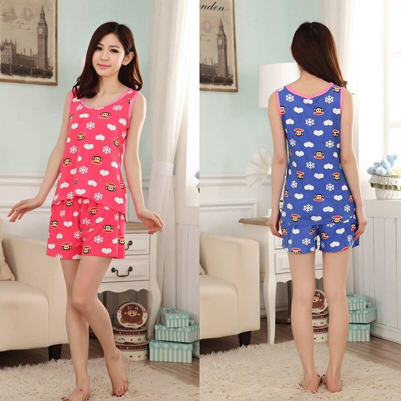 7c14e50a537e Cool summer Women lady pajama sets tracksuit sleeveless girls Cartoon  monkey sleepwear cotton vest pyjama suits Vest + shorts