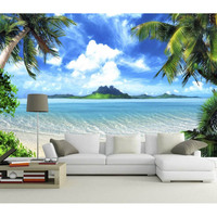 3D Custom Photo Mural DIY Wallpaper Living Room TV Background Beach sea view Non woven fabric Wall Papers New For Walls 228
