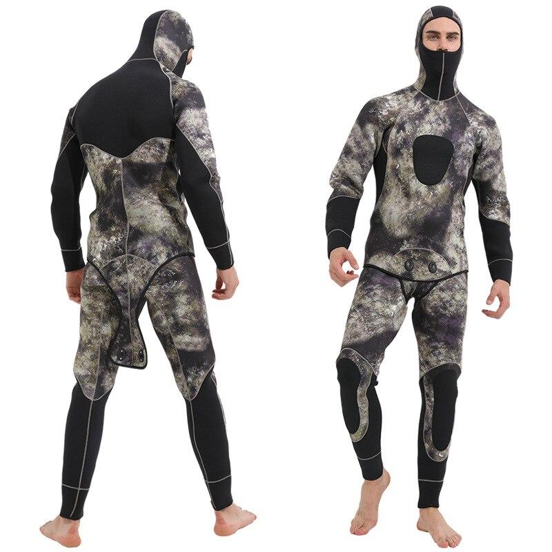 Terno de Duas Peças com Capuz Sbart Novo Homem Neoprene Elástico Lança Pesca Mergulho Pescadores Snorkeling Wetsuit Inverno Quente 5mm