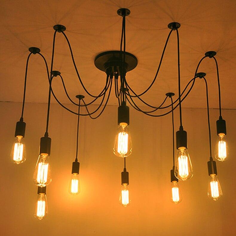 Moderne nordique rétro Edison ampoule lumière lustre Vintage Loft Antique réglable bricolage E27 Art araignée plafonnier luminaire