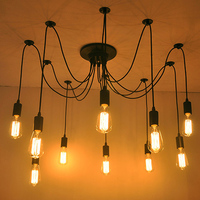 Mordern Nordic Retro Edison Bulb Light Chandelier Vintage Loft Antique Adjustable DIY E27 Art Spider Ceiling