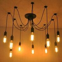 Mordern Nordic Retro Edison Bulb Light Chandelier Vintage Loft Antique Adjustable DIY E27 Art Spider Ceiling