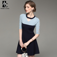 Spring Autumn Woman Dress Black White Dark Blue Patchwork Knitted Dress Hollow Out Sleeve Collar Above