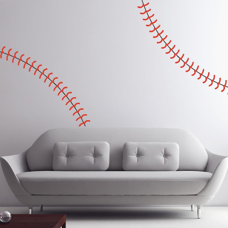 Large Life Size Baseball Seams Stitching Stitch Vinyl Wall stickers home decor Art Decal for Sports Fans Locker Rooms Kids Rooms