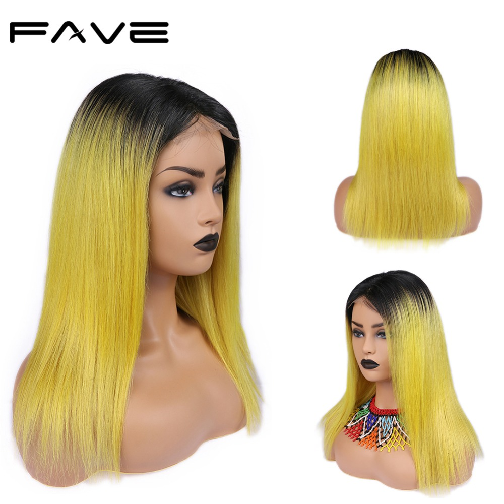 FAVE Hair 4*4 Lace Closure Ombre Wigs Color Brazilian Remy Straight Hair Wig 150% Density Natural Hairline 1B/Lemon Yellow