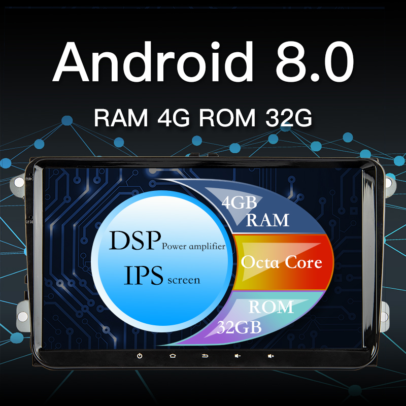 Car DVD GPS android 8.0 Player 2 din rads